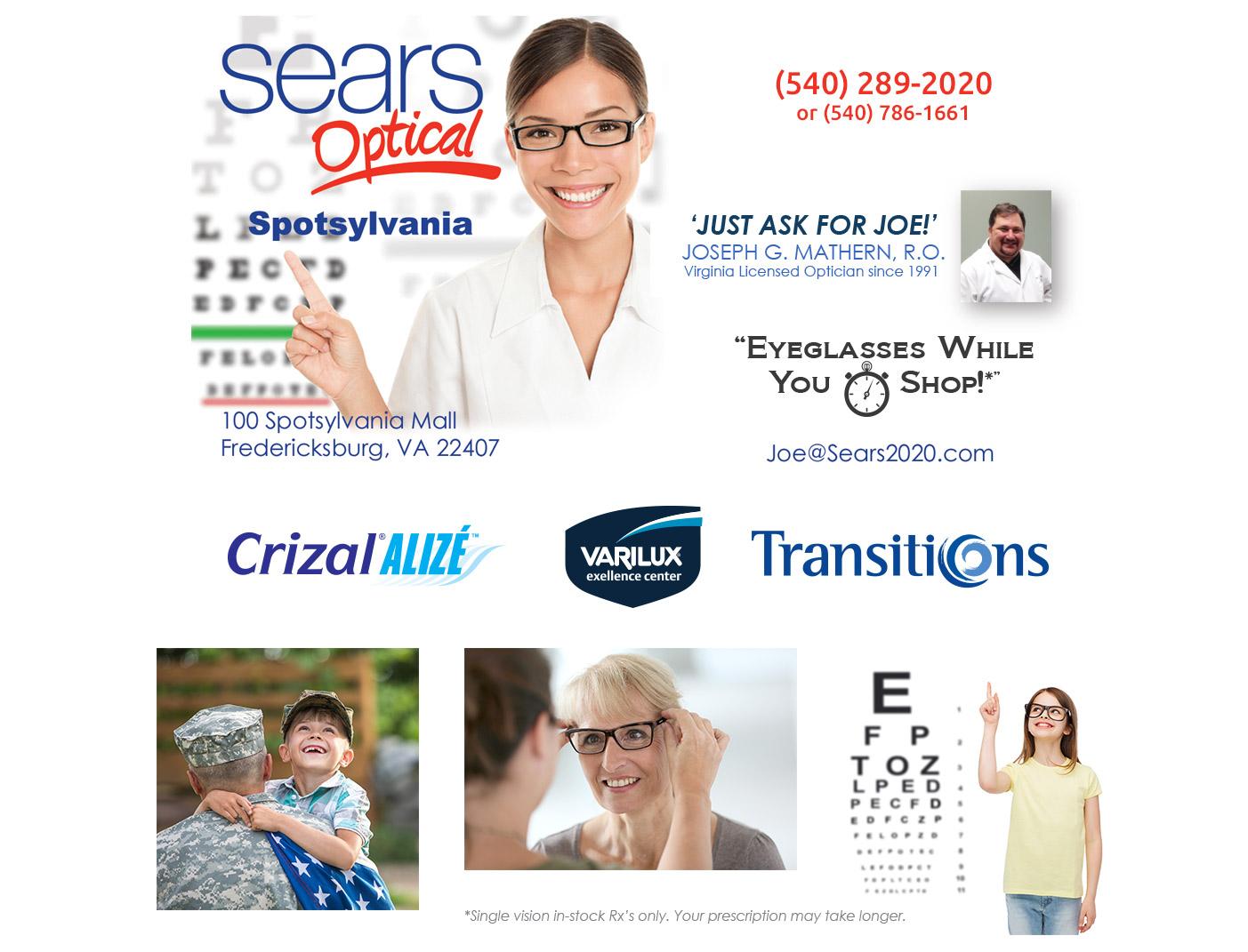 5f8bb1ab7e Sears Optical Spotsylvania Mall 540-786-1661